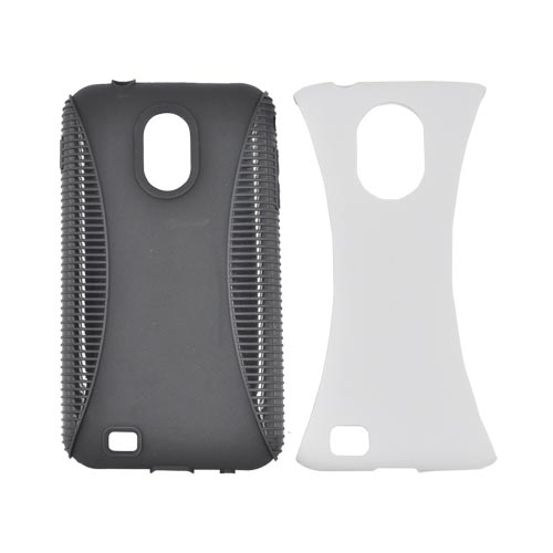 Samsung Epic 4G Touch Hard Back Over Crystal Silicone Case - Solid White/ Black