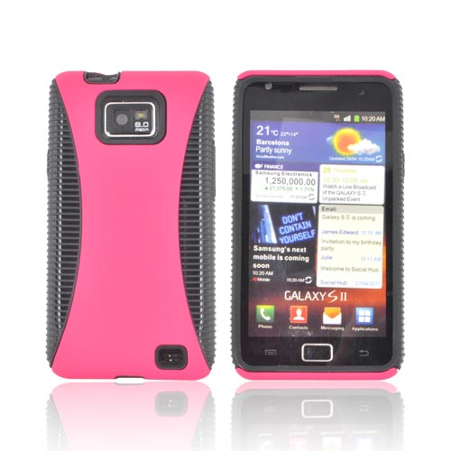 AT&T Samsung Galaxy S2 Rubberized Hard Back Over Crystal Silicone Case - Hot Pink/ Black