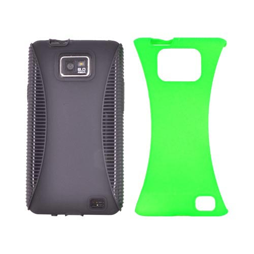 AT&T Samsung Galaxy S2 Rubberized Hard Back Over Crystal Silicone Case - Neon Green/ Black