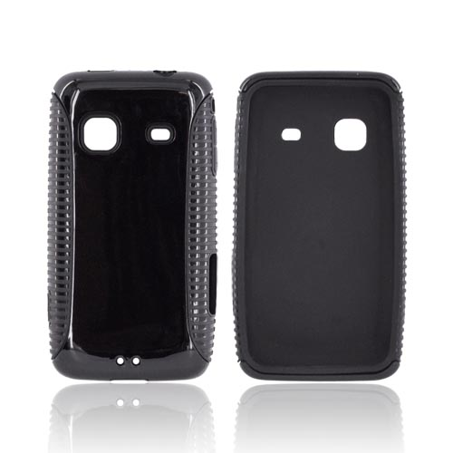 Samsung Galaxy Prevail M820 Hard Back Over Crystal Silicone Case - Black