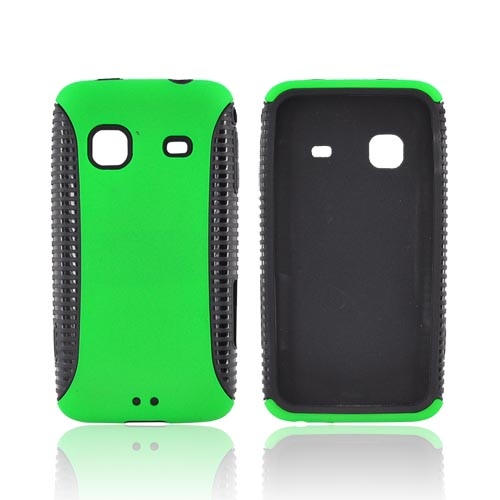 Samsung Galaxy Prevail M820 Hard Back Over Crystal Silicone Case - Green/ Black