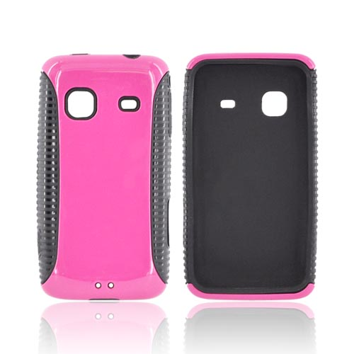 Samsung Galaxy Prevail M820 Hard Back Over Crystal Silicone Case - Hot Pink/ Black