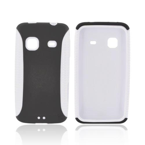 Samsung Galaxy Prevail M820 Hard Back Over Silicone Case - White/ Black