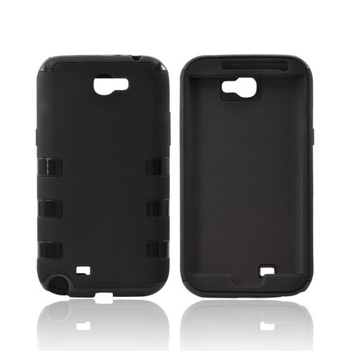 Samsung Galaxy Note 2 Rubberized Hard Case Over Crystal Silicone - Black