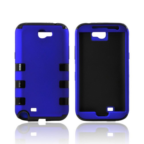 Samsung Galaxy Note 2 Rubberized Hard Case Over Crystal Silicone - Blue/ Black