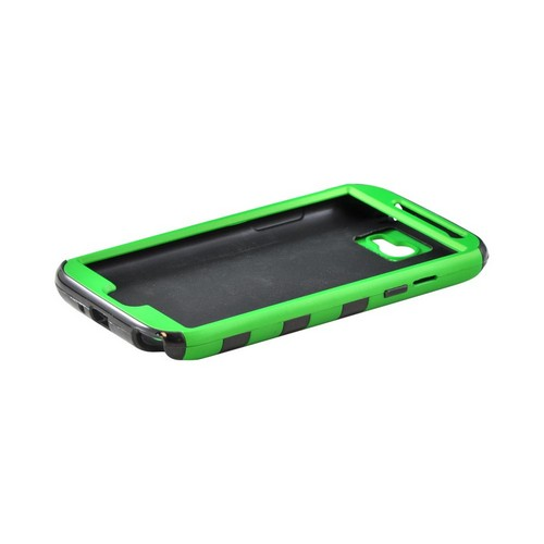Samsung Galaxy Note 2 Rubberized Hard Case Over Crystal Silicone - Green/ Black