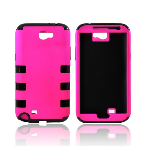Samsung Galaxy Note 2 Rubberized Hard Case Over Crystal Silicone - Hot Pink/ Black