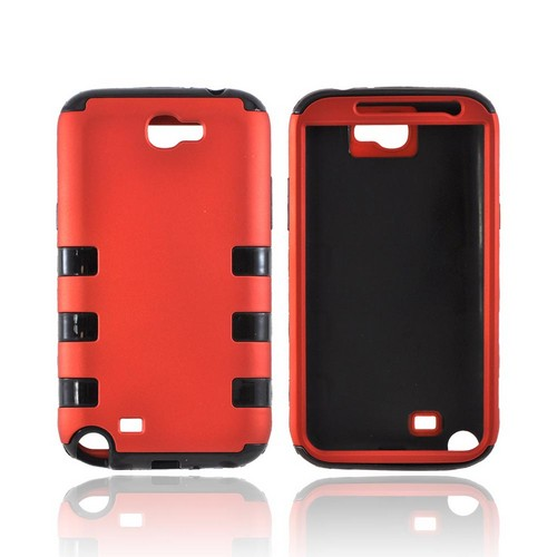 Samsung Galaxy Note 2 Rubberized Hard Case Over Crystal Silicone - Orange/ Black