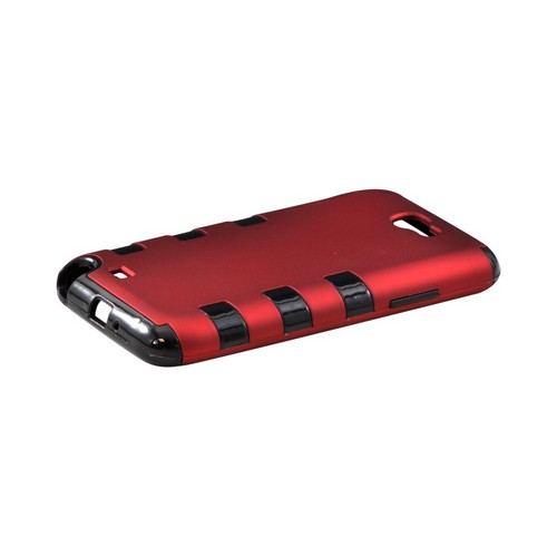 Samsung Galaxy Note 2 Rubberized Hard Case Over Crystal Silicone - Red/ Black