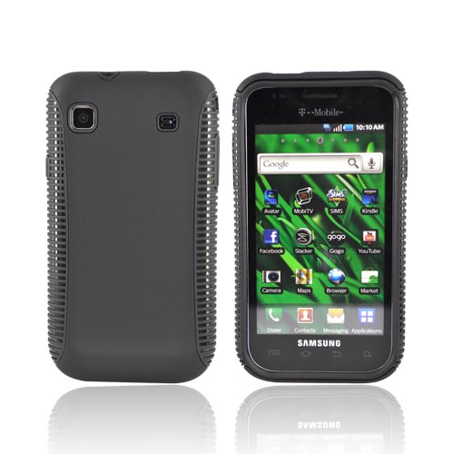 Samsung Vibrant/Galaxy S 4G Hard Back Over Crystal Silicone Case - Black