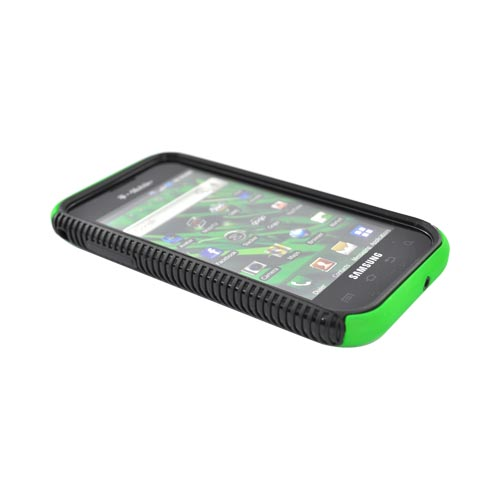 Samsung Vibrant/Galaxy S 4G Hard Back Over Crystal Silicone Case - Black/Green