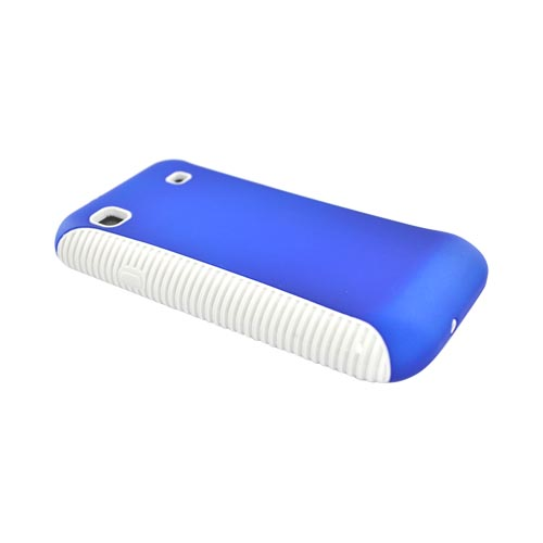 Samsung Vibrant/Galaxy S 4G Hard Back Over Crystal Silicone Case - White/Blue
