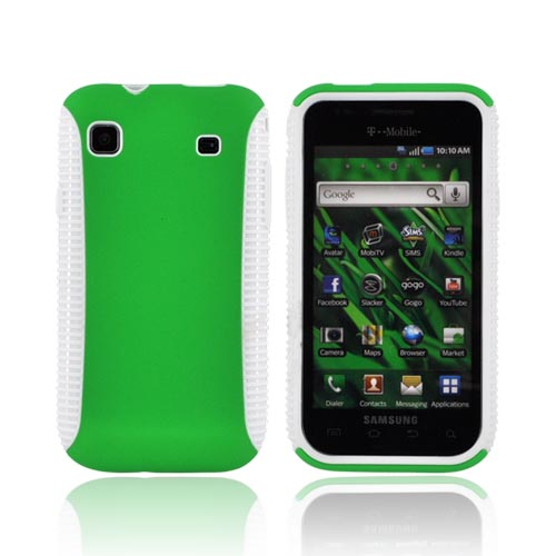 Samsung Vibrant/Galaxy S 4G Hard Back Over Crystal Silicone Case - White/Green