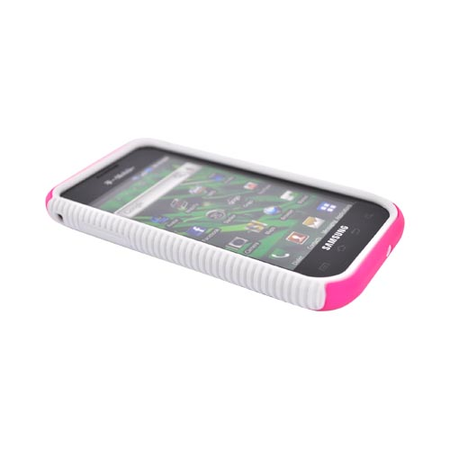 Samsung Vibrant/Galaxy S 4G Hard Back Over Crystal Silicone Case - White/Hot Pink