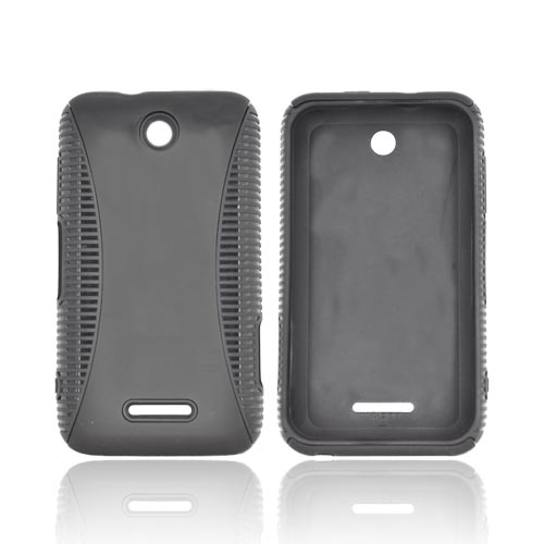 ZTE Score Hard Back Over Crystal Silicone Case - Black