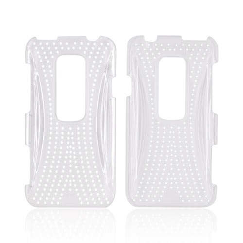 HTC EVO 3D Hard Case w/ Perforated Textured Back - Clear