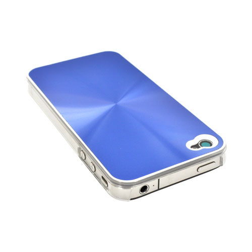 AT&T/ Verizon iPhone 4, iPhone 4S Metallic Textured Hard Case - Blue
