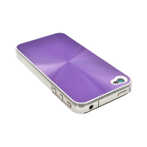 AT&T/ Verizon iPhone 4, iPhone 4S Metallic Textured Hard Case - Purple