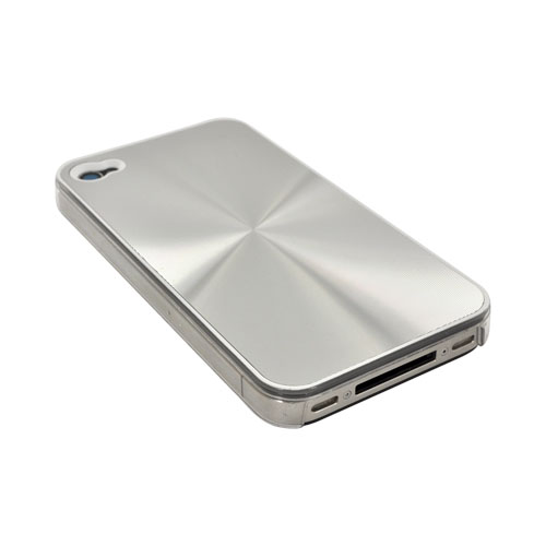 AT&T/ Verizon iPhone 4, iPhone 4S Metallic Textured Hard Case - Silver