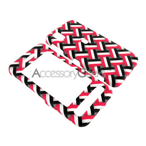 Samsung Finesse Leather Molded Hard Case - Red, White, Black Stripes