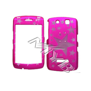 Blackberry Storm 9530 Illusion Hard Case - Clear Stars on Hot Pink