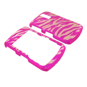 Blackberry Curve 8330, 8320, 8310, 8300 Glow in the Dark Illusion Hard Case - Clear Hot Pink Zebra
