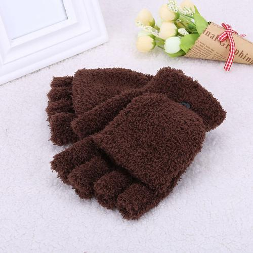 [Pink] Fleece Flip Mittens, Fingerless Gloves For Women