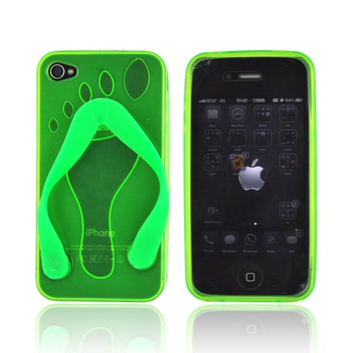 AT&T Apple iPhone 4 Crystal Silicone Case - Neon Green Flip Flop