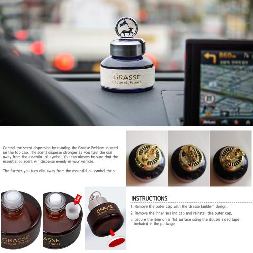Premium Car Air Freshener, [Bulgarian Rose] Bullsone Grasse L'esterel - Natural Essential French Oil Scents!
