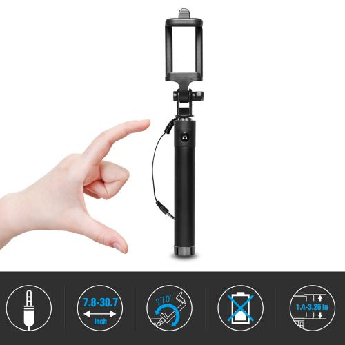 Foldable, Durable Handheld Selfie Stick w/ Cable For Smartphones; Extends 31.5 inches- Take the Perfect Selfie!