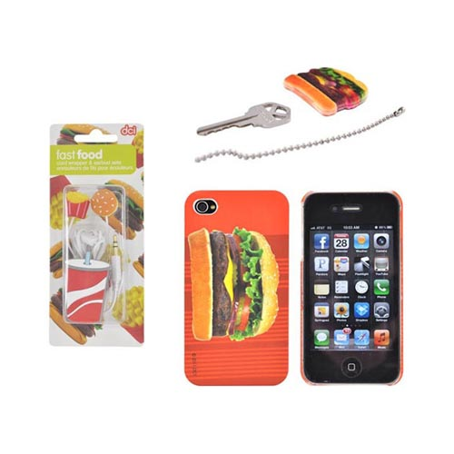 AT&T/ Verizon Apple iPhone 4, iPhone 4S Hamburger Fast Food Bundle w/ DCI Universal Hamburger, French Fries & Drink Earbud Headset (3.5mm) & Cord Wrapper, Hamburger on Red Stripes Rubberized Hard Case & Hamburger Key Topper