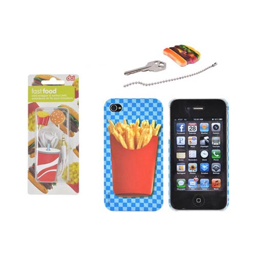 At&t/ Verizon Apple Iphone 4, Iphone 4s French Fries Fast Food Combo W/ Dci Universal Earbud Headset (3.5mm) & Rubberized Hard Case