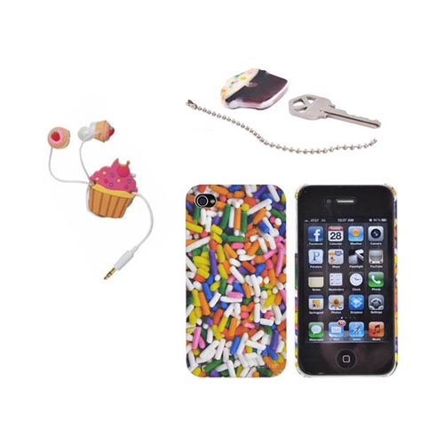 AT&T/ Verizon Apple iPhone 4, iPhone 4S Cupcakes & Sprinkles Food Bundle w/ DCI Universal Pink Cupcakes Earbud Headset (3.5mm) & Cord Wrapper, Cupcake Key Topper & Sprinkles Rubberized Hard Case