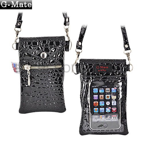 Original TurtleBack G-Mate iPhone/iPod Crocodile Carry Case w/ Shoulder Strap - Ebony Black