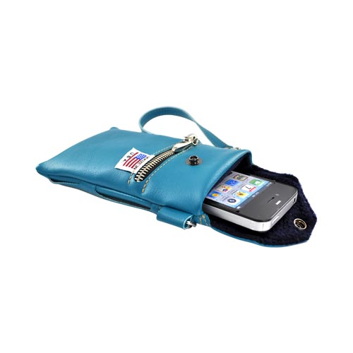 G-Mate Universal iPhone/iPod Genuine Leather Carry Case w/ Strap - Aqua Blue