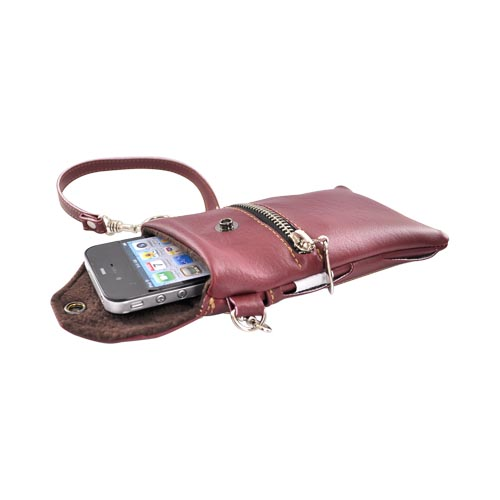 G-Mate Universal iPhone/iPod Genuine Leather Carry Case w/ Strap - Burgandy