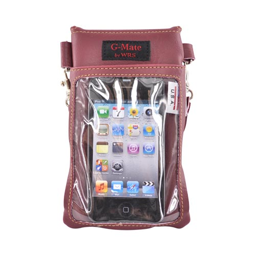 G-Mate iPhone/iPod Genuine Leather Carry Case w/ Strap - Burgandy