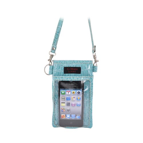 G-Mate iPhone/iPod Genuine Leather Carry Case w/ Strap - Crocodile Blue