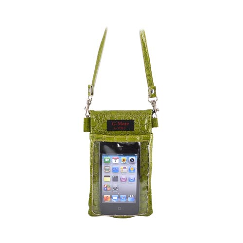 G-Mate iPhone/iPod Genuine Leather Carry Case w/ Strap - Crocodile Green