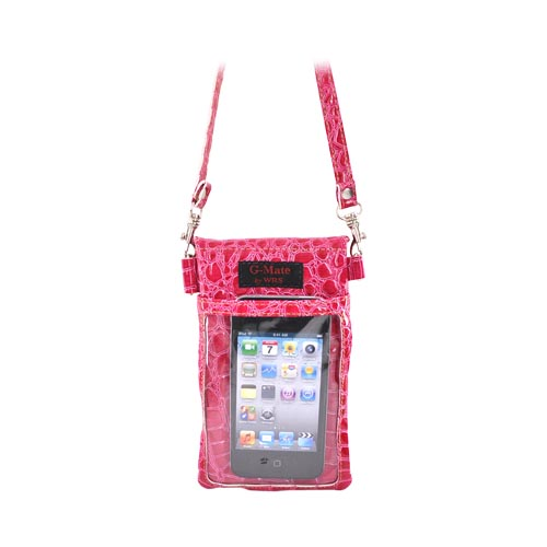 G-Mate iPhone/iPod Genuine Leather Carry Case w/ Strap - Crocodile Pink