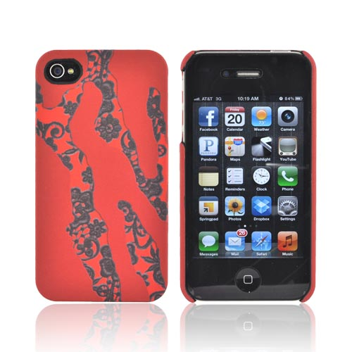 Original Luxmobile Lady Gaga Torn AT&T/ Verizon Apple iPhone 4, iPhone 4S Hard Case w/ Screen Protector, GA5003 - Torn Red w/ Black Lace