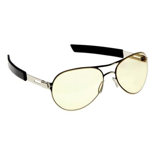 Gamer's Edge Silver Bullet Aviator Glasses with Black Temples