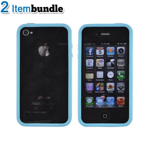 AT&T/ Verizon Apple iPhone 4, iPhone 4S Gelaskins Bundle Package w/ Colorful Bookshelf & Sky Blue Crystal Silicone Bumper