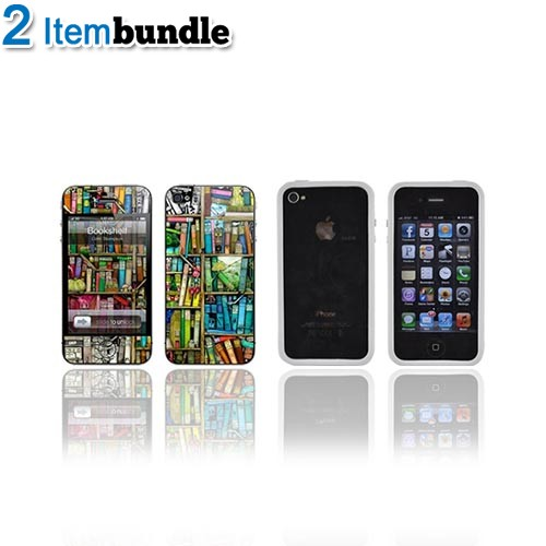 AT&T/ Verizon Apple iPhone 4, iPhone 4S Gelaskins Bundle Package w/ Colorful Bookshelf & Solid White Crystal Silicone Bumper