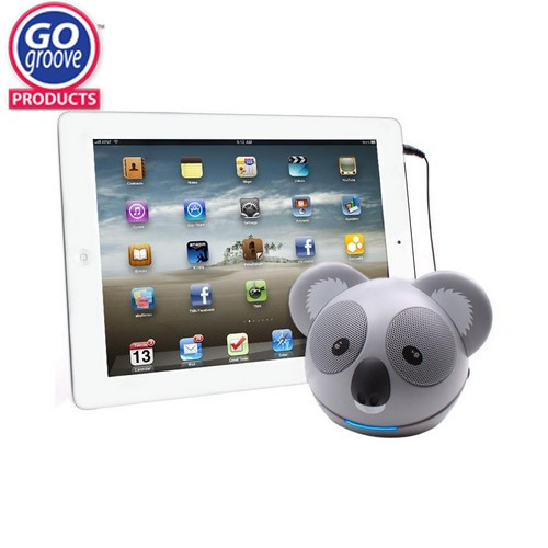 GOgroove Universal Koala Pal Portable Stereo Speaker (3.5mm), GG-KOALA-PAL - Gray/ Black