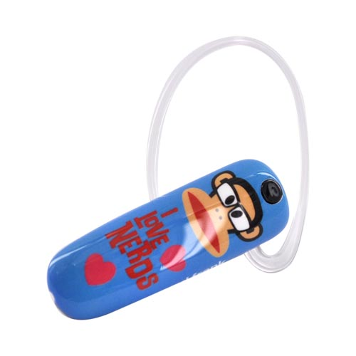 Original Earloomz Paul Frank Universal Bluetooth Headset, GL-140 - I Love Nerds on Blue