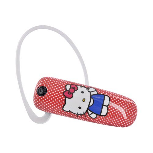 Original Earloomz Hello Kitty Universal Bluetooth Headset, GL-430 - Hello Kitty on Red,White Polka Dots