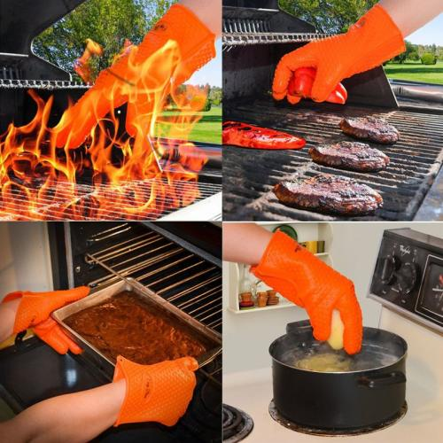 Silicone BBQ Oven Cooking Gloves, Heat Resistant Grill Gloves and Pot Holders [Orange]