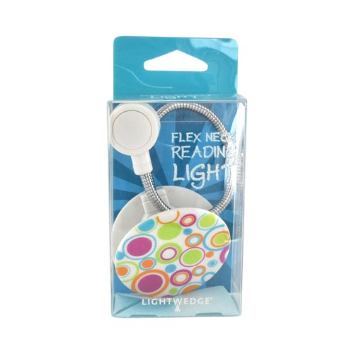 Original LightWedge Universal Flex Neck LED Reading Light, GP-02-423-23 - Hot Pink/ Turquoise/ Lime Green Circles on White