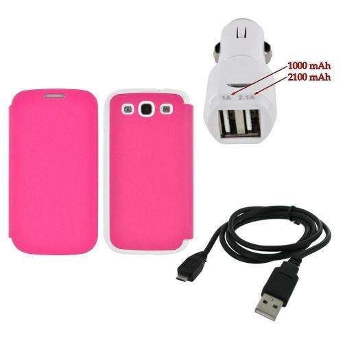 Samsung Galaxy S3 Combo W/ Gangnam Style Hot Pink/ White Snazzy Leather Diary Flip Cover Hard Case  Card Slot & Trident Dual Usb Car Charger and more!
